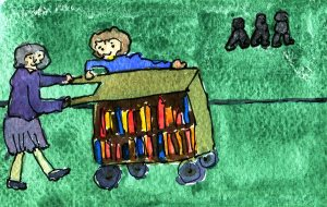 a strange direction system for the book trolley