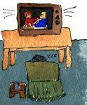 some do handicraft, some snooze to TV